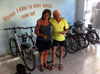 clients who walked 14 km to rent bikes from us