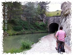 bicycle in front of malpas tunnel canal du midi france