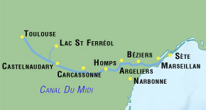 custom made canal du midi bike tours map for independent cyclists