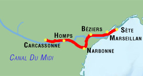 7 day canal du midi bike tour map via narbonne