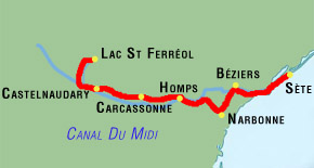 8 day canal du midi bike tour map from revel to sete via narbonne