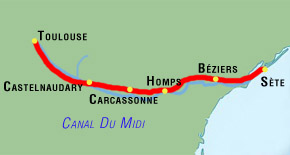 7 day toulouse to sete canal du midi bike tour map